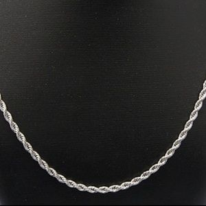 """Jewelry - 20"""" Diamond Cut Stainless Steel Twisted Rope"""